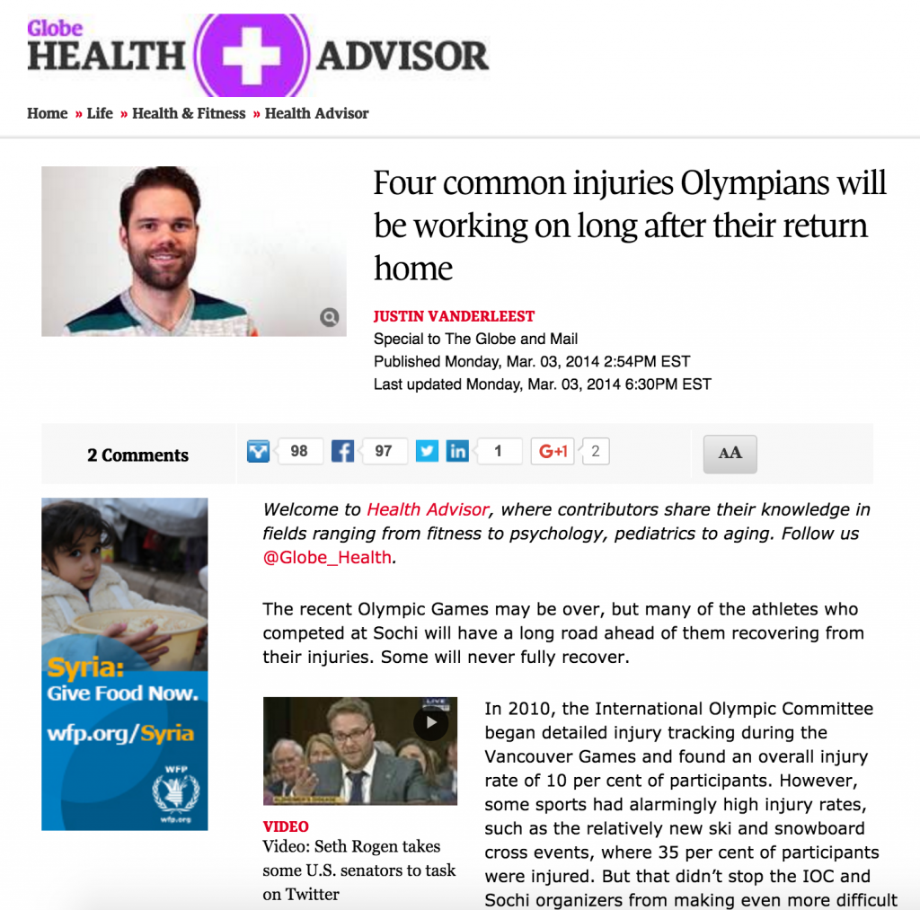 Justin Vanderleest, Physiotherapist - Globe and Mail